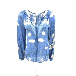 Lucky Brand Semi Sheer Floral Print Blouse Sz Sm